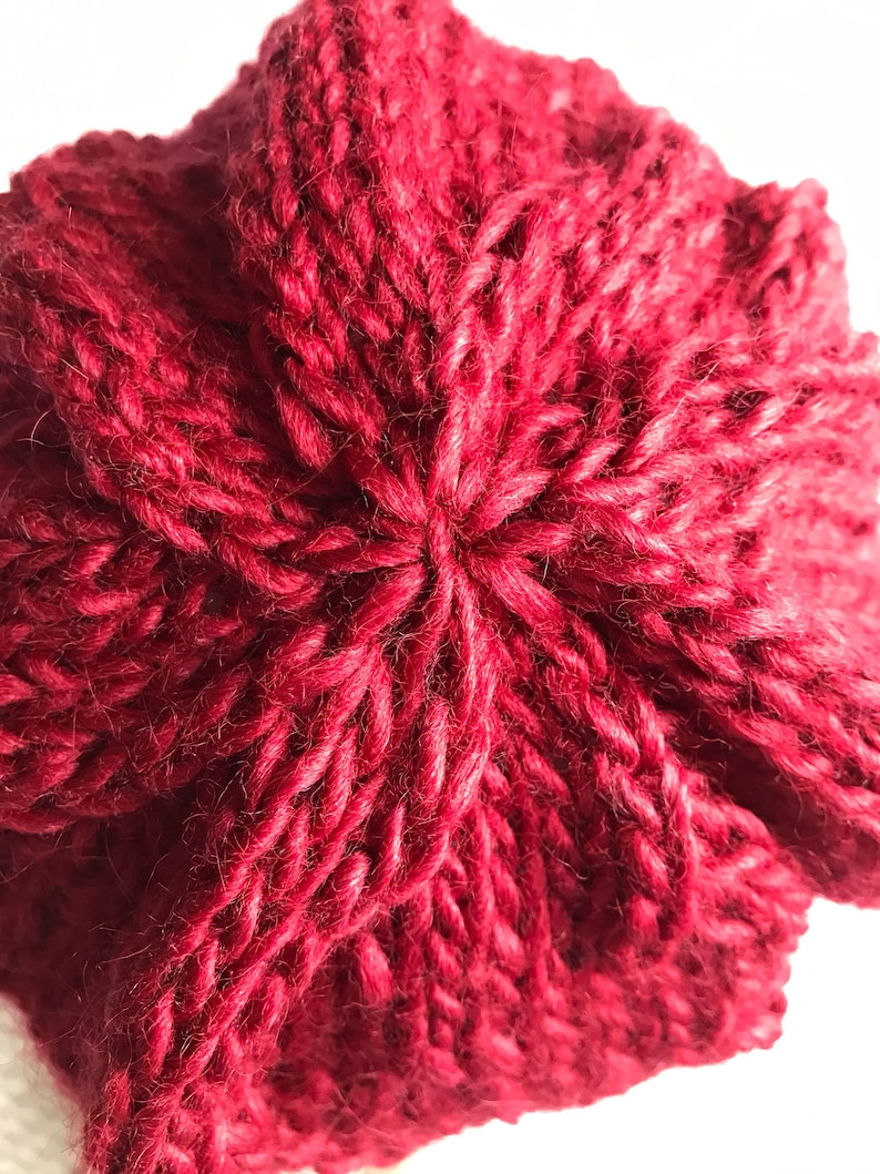 Hand knit eyelet lace scarlet red beanie hat in bamboo fiber