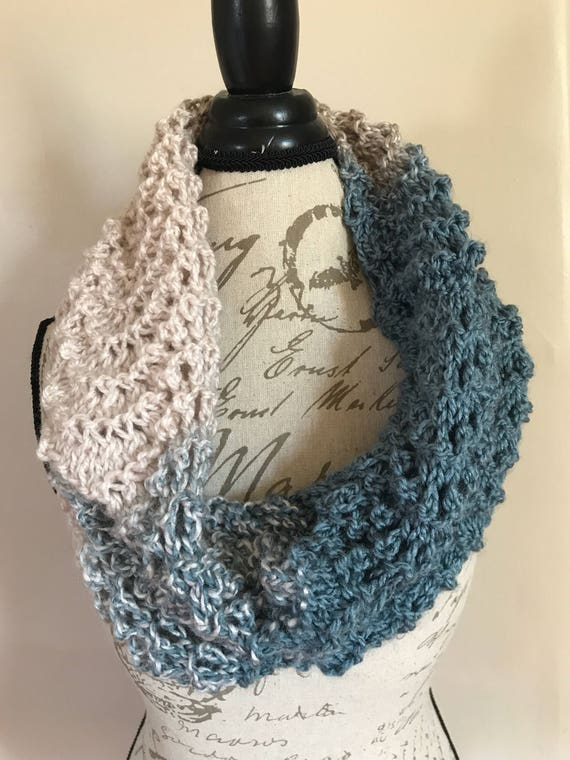 Cozy blue and cream hand knit winter wave lace stretchy cowl scarf