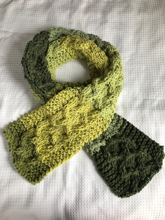 Chunky climbing cable hand knit extra long scarf in pale, forrest, lemongrass and lime green