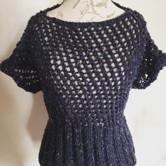 Dark Purple Tweed Eyelet Lace Sweater/Shirt/Top with Form Fitting Rib Waist and Boat Neck
