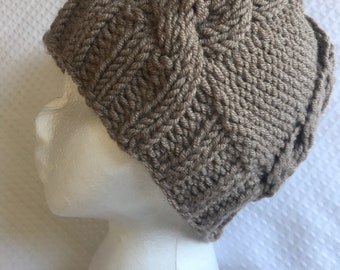 Chunky cabled hand knit beanie