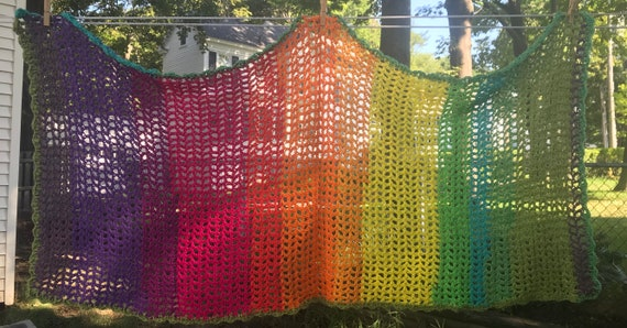 Hand crocheted rainbow variegated fishnet lace shawl wrap oversize scarf