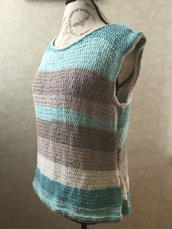 100% cotton hand knit spring summer light tank in sky blue and neutral