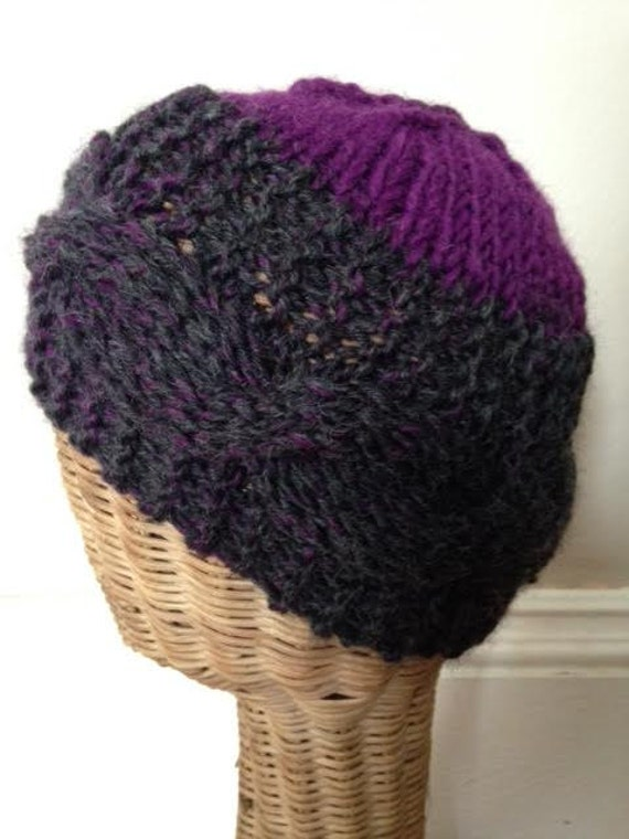 Purple and Gray Wool Cabled Brim Knit Ski Beanie Hat