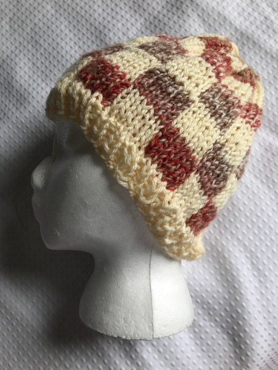 Hand knit checker patterned fair aisle salmon pink orange, cream and brown beanie hat