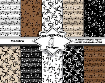 Digital Printable Paper for Cards, Crafts, Art and Scrapbooking Set of 10 - Maestro - Instant Download