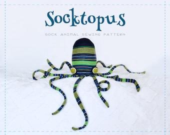 Socktopus - Octopus Sock Animal Digital Sewing Pattern, Squid, Plush, Stuffed Animal