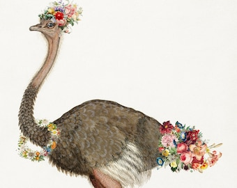 Floral Ostrich Art Print - Nursery Children's Wall Art, 5x7, 8x10, and 11x14 included