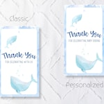 Printable Whale Baby Shower Favor Tags - Classic and Personalized Options