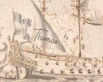 Personalized Ship Printable Art Print - Vintage Name Nursery Art - Children's Wall Art
