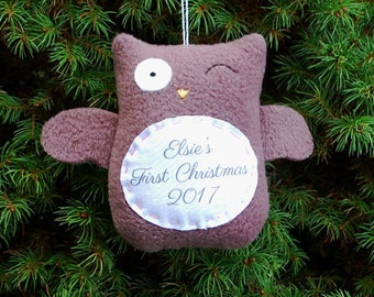 Owl Personalized Christmas Ornament, Baby's First Christmas Personalized Ornament, Custom Ornament - Brown Owl