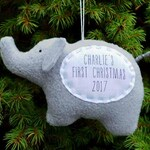 Elephant Baby's First Christmas Personalized Ornament, Personalized Christmas Ornament, Custom Ornament - Gray Elephant