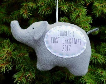 Elephant Personalized Christmas Ornament, Baby's First Christmas Ornament, Custom Ornament - Gray Elephant