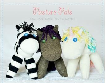 Pasture Pals - Sock Animal Digital Sewing Pattern Bundle, Horse Sock Animal, Unicorn Sock Animal, Zebra Sock Animal