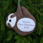 Sloth Personalized Christmas Ornament, Family Christmas Personalized Ornament, Couple Custom Ornament - Brown Sloth