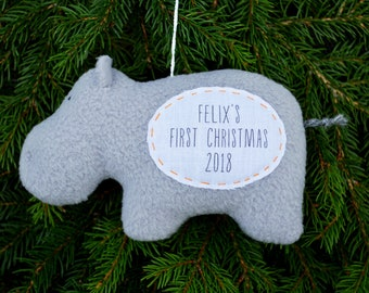 Hippo Personalized Christmas Ornament, Baby's First Christmas Ornament, Custom Ornament - Gray Hippo