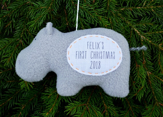 Hippo Christmas Ornament.Hippo Baby S First Christmas Personalized Ornament Personalized Christmas Ornament Custom Ornament Gray Hippo