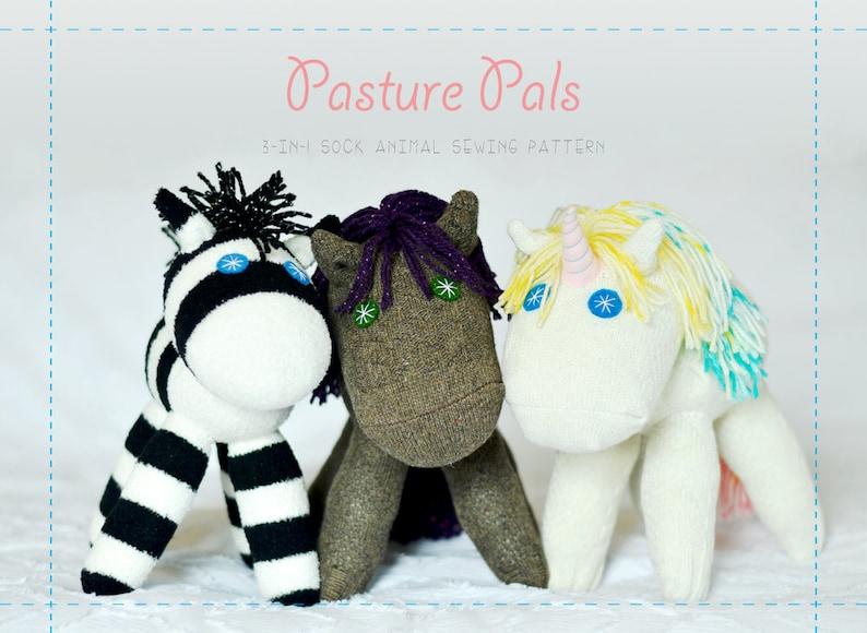 Pasture Pals  Sock Animal Digital Sewing Pattern Bundle image 0