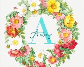 Personalized Floral Wreath Printable Art Print - Vintage Name Nursery Art - Children's Wall Art
