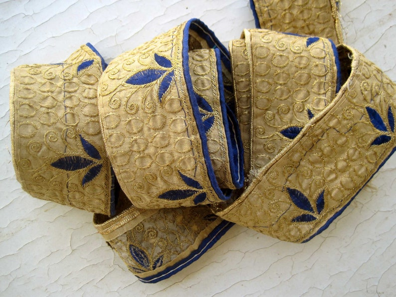 Indian festive golden Sari Border with floral Motifs in a Set of 3