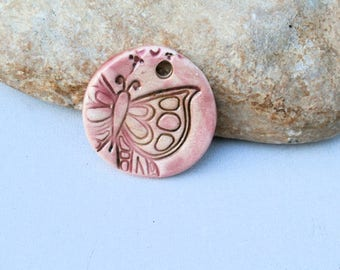 little pink butterfly, handmade ceramic pendant