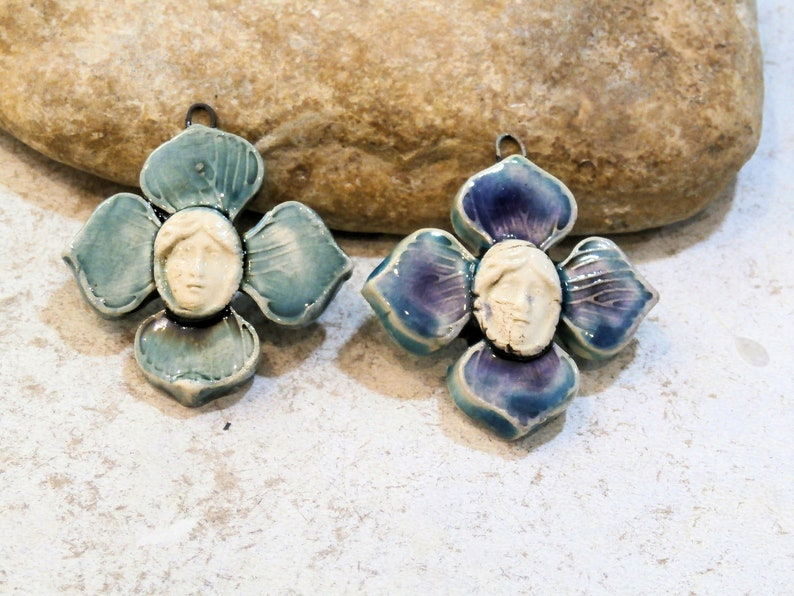 handmade supply pendant for necklace ooak blue pendant french art nouveau young girl in the middle of a flower