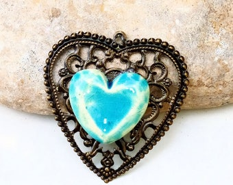 to be customized - blue heart pendant