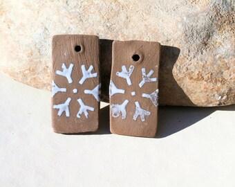 snowflake, wintry sweetness, 2 charms for earrings, ooak earthy handmade supply