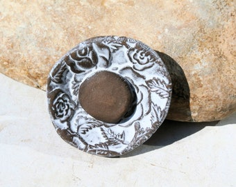 handmade ceramic poppy, white pendant, english garden, supply for jewel necklace creation