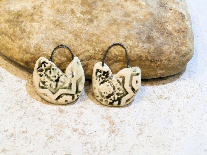 high fired artisan ooak charms for earrings creation ooak supply component beige charms boho romantic geometric charms clay pottery
