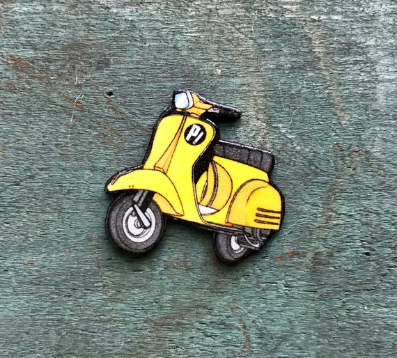 flcl yellow vespa wasp woman fooly cooly scooter lapel pin etsy