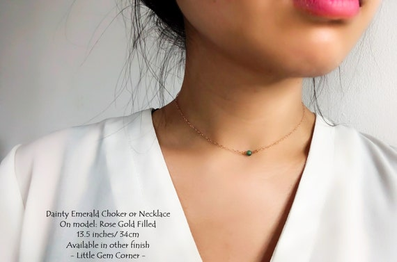 Birthday Gift For Her May Birthstone Gold And Rose Gold Emerald With Silver Natural Dainty Emerald Choker Necklace