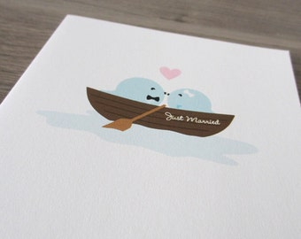Wedding Card - Love Boat Birdie. Just Married  - Eco Friendly