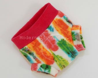 Small Anti-Pill Fleece Diaper Cover/Soaker in Rainbow Feathers, Bright Pink Green Orange Blue Vegan, Ready to Ship, Baby Infant Photo Prop