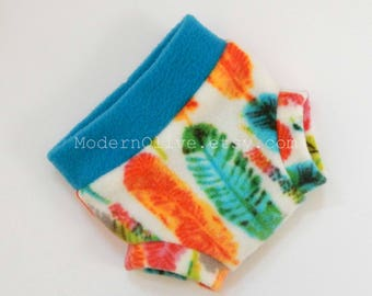 Small Anti-Pill Fleece Diaper Cover/Soaker in Rainbow Feathers, Bright Blue Orange Yellow Green Vegan Spring Summer, Baby Infant Photo Prop