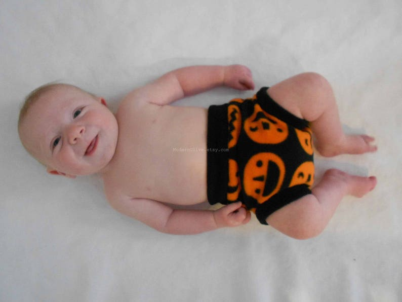 Vegan Toddler Halloween Construction Zone Black and Orange Large Anti-Pill Fleece Diaper Cover or Underpants Cover Cloth PullupSoaker