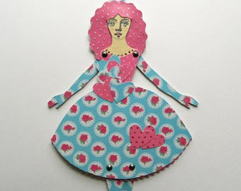 Paper Doll, Paper Art Doll, Jointed Paper Doll, Blue and Pink Paper Doll, Hanging Paper Doll, Articulated Paper Doll, Paperdoll, Art Doll
