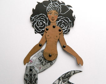 Black Mermaid Paper Doll/African American Paper Doll/ Jointed Mermaid Paper Doll/  Beach House Decor/ Black and Grey Wall Decor/ Mermaid