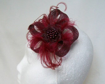 Burgundy Wine Fascinator Marsala Sinamay Feather and Pearl  Headpiece Wedding Hair Clip - Made to Order