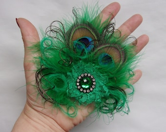 f2aa85ab9bb84 Dusky Emerald Green Mini Gem Vintage Style Peacock Feather Hair Clip Small  and Dainty Fascinator Headpiece Wedding Hat Clip - Made to Order