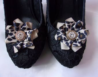 0a95fcd0fa1 Leopard print Shoe Clips - Ribbon Ruffles with Gold Diamante or Pearl Studs  - Made to Order