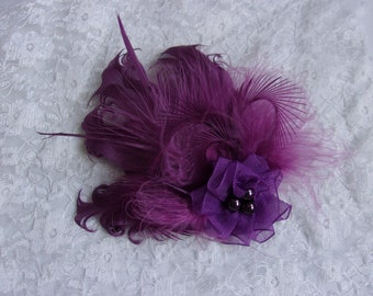 01620985 Amethyst Feather Clip - Small Vintage Style Plum Purple Mini Hair Clip  Headpiece Fascinator - Wedding Party - Ready Made