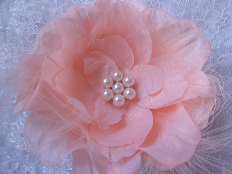 Ready Made Bright Peach Rose /& Feather Pearl Hair Clip Accessory Retro Boho Festival Flowers Vintage Wedding Prom
