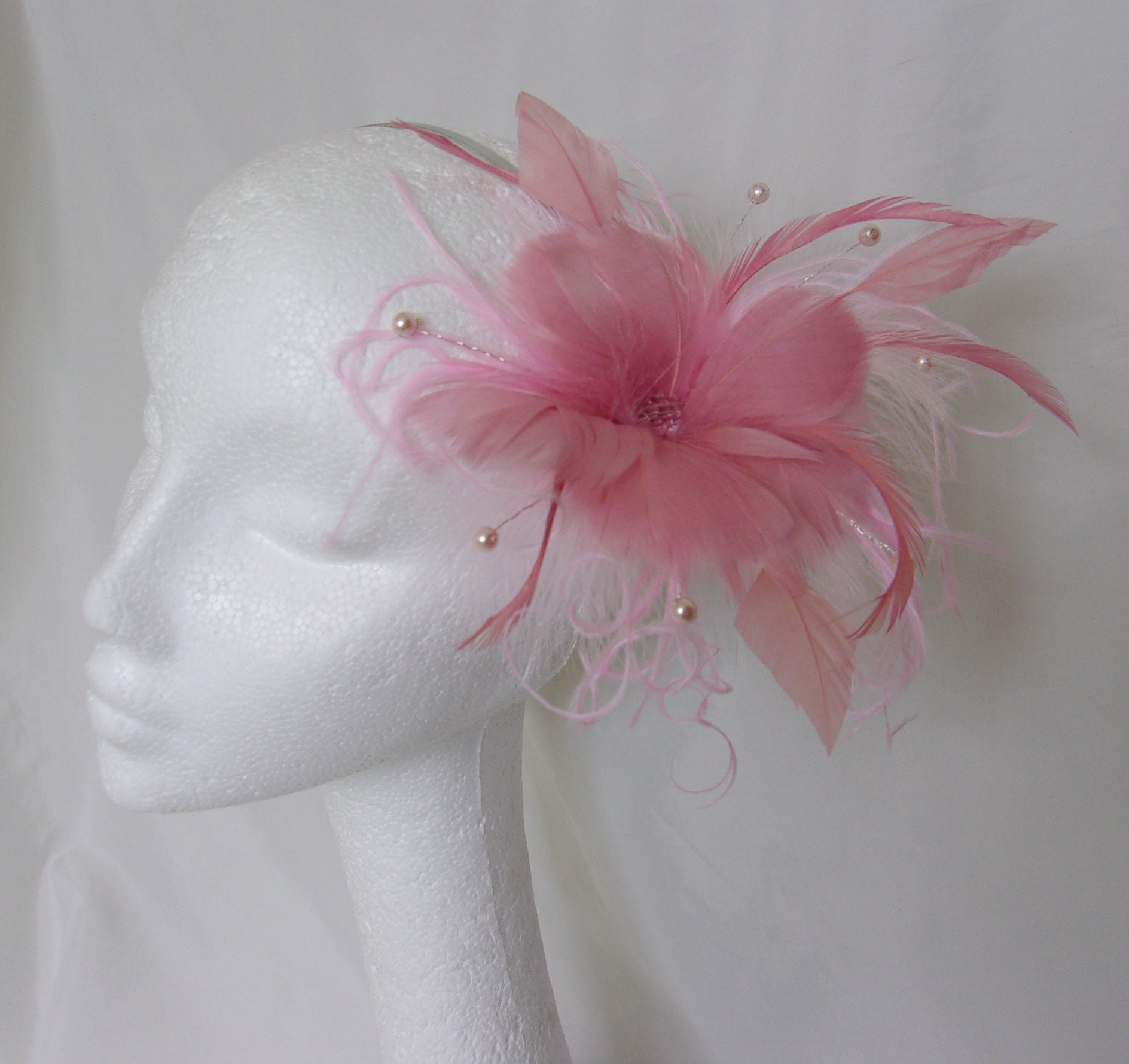 Dusky Pink Fascinator Pretty Pale Rose Feather Flower and  881fb48c882