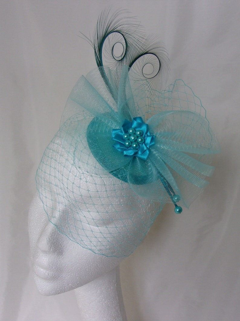 turquoise feather black veiling fascinator millinery hair clip wedding bridal x