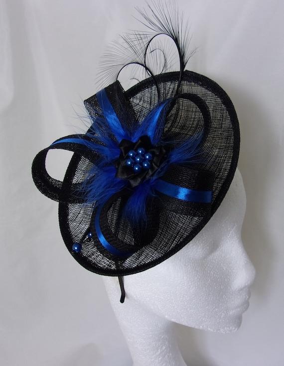 Cobalt Blue and Black Saucer Fascinator Wedding Hat with Curl  a4cd60331c7