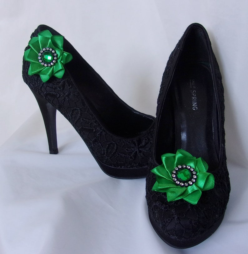 Made to Order Emerald Green Shoe Clips Satin /& Crystal Ribbon Ruffle Shoe Clip Accessories Wedding Prom Gift