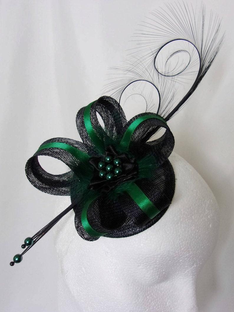 6e51a9476da Black Bottle Green Fascinator Deep Emerald Racing Green