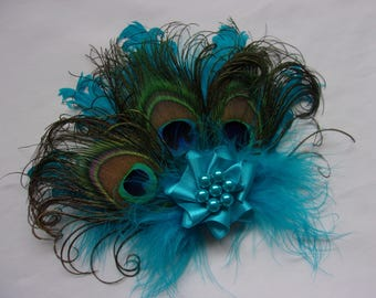 Turquoise Peacock Fascinator Lagoon Azure Blue Shades & Curled Feather Pearl Vintage Mini Hair Clip Headpiece Gift Gifts - Made to Order