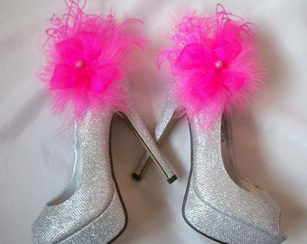 Fuchsia Shoe Clips Hot Pink Organza Ruffle & Bead Glamorous Wedding Bridal Party Prom Races Shoe Decoration -Made to Order
